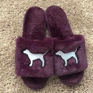 Furry Burgondy PINK Slip On Shoes
